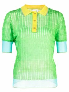i-am-chen silk panelled polo top - Green