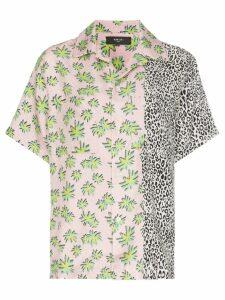 Amiri floral leopard print silk shirt - Pink