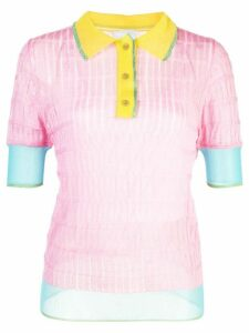 i-am-chen silk panelled polo top - PINK