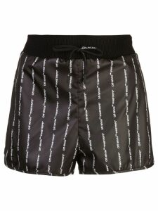 Off-White logo print pinstripe track shorts - Black