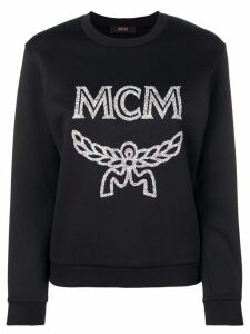MCM glitter logo print sweatshirt - Black