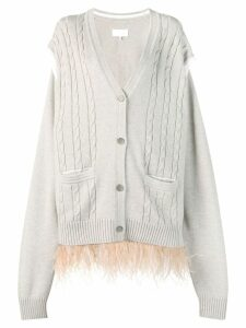 Maison Margiela feathered hem cardigan - Neutrals