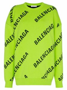 Balenciaga intarsia logo oversized cotton-blend jumper - Green
