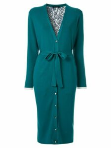 Loveless long belted lace-back cardigan - Blue