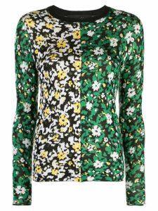 Proenza Schouler Silk Jacquard Floral Sweater - Black