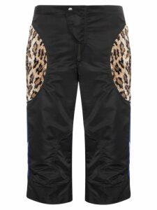 Martine Rose leopard-patch motocross shorts - Black