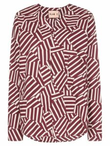 Plan C Geometric Print Collarless Shirt - Red