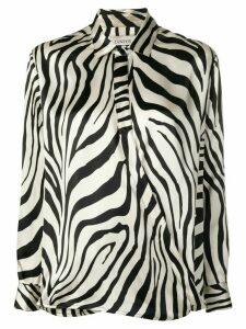 Laneus zebra print henley blouse - NEUTRALS