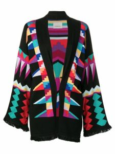 Laneus geometric pattern cardigan - Black