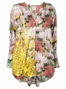 L'Autre Chose printed twill high low blouse - Pink