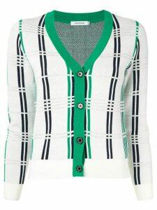 Guild Prime check knit cardigan - White