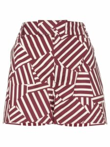 Plan C Geometric Print Shorts - Red