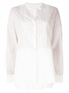 Frei Ea striped mandarin collar shirt - White