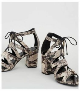 Wide Fit Stone Faux Snake Lace Up Ghillie Sandals New Look