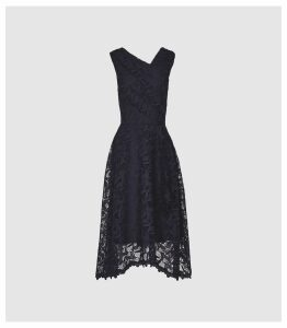 Reiss Rayna - Wrap Front Lace Dress in Navy, Womens, Size 16