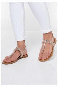 Quiz Rose Gold Diamante Flat Sandals