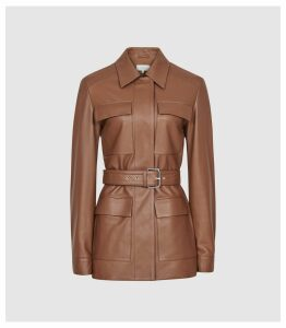 Reiss Wynee - Leather Belted Jacket in Tan, Womens, Size 14