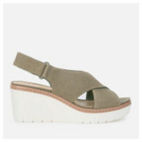 Clarks Women's Palm Candid Nubuck Wedged Sandals - Olive - UK 6 - Green