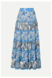 Alice + Olivia - Satin And Lace-trimmed Floral-print Crepe De Chine Maxi Skirt - Blue