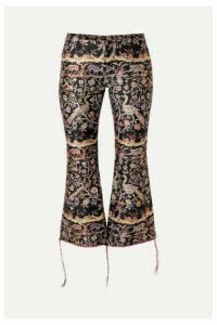 Marques' Almeida - Cropped Frayed Brocade Flared Pants - Black
