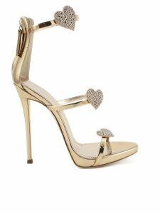 Giuseppe Zanotti Metallic Rose Gold Leather harmony Love Sandal