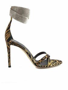 Giuseppe Zanotti Neutral-coloured Cheetah-print Leather Stiletto Sandals