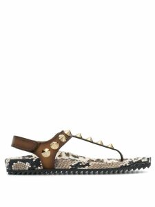 Pedro Garcia studded flat sandals - Brown