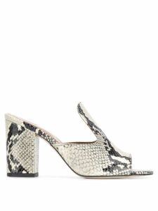 Paris Texas snakeskin effect mules - NEUTRALS
