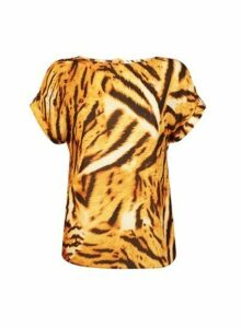 Womens Yellow Tiger Print Button T-Shirt- Black, Black