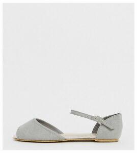 Park Lane wide fit flat peep toe ballet-Grey