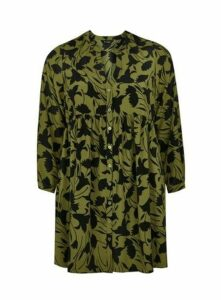 Green Gathered Waist Tunic Top, Green
