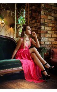 Coral Chiffon Draped Maxi Dress