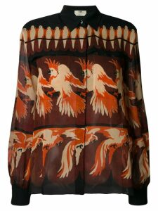 Fendi parrot print shirt - ORANGE