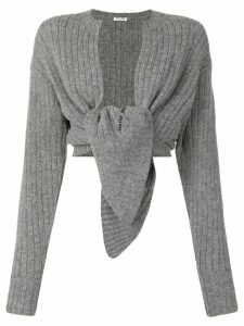 Miu Miu ribbed wool cardigan - Grey