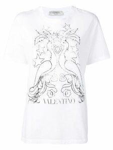 Valentino peacock print T-shirt - White