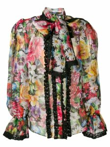 Dolce & Gabbana puff structured floral blouse - Black