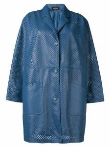 Simonetta Ravizza single breasted eyelet coat - Blue