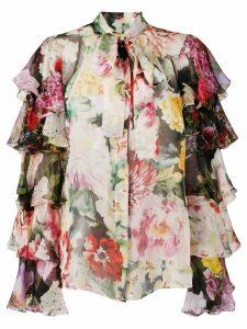 Dolce & Gabbana ruffled sleeves floral shirt - PINK