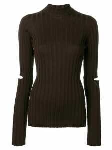 Helmut Lang slash ribbed knit sweater - Brown