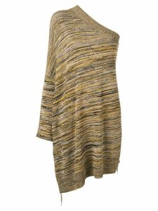 Erika Cavallini one shoulder knitted top - Brown