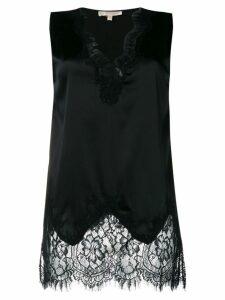 Gold Hawk floral lace inserts blouse - Black