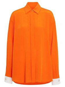 Burberry Contrast Cuff Silk Shirt - ORANGE