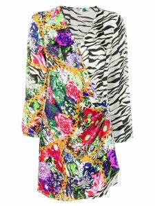 Rixo floral zebra print mini dress - White