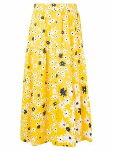 Chinti & Parker floral ruffle midi skirt - Yellow