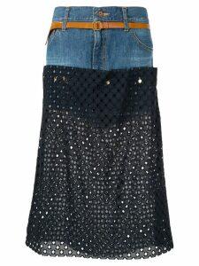 Kolor perforated jean skirt - Blue