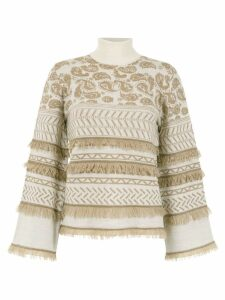Nk fringed knit sweater - NEUTRALS