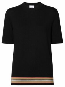 Burberry Short-sleeve Icon Stripe Detail Merino Wool Top - Black