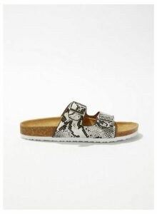 Womens Esmarelda Grey Snake Print Buckle Sandals, Grey