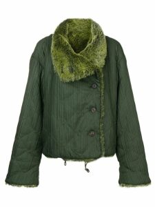 Issey Miyake Pre-Owned plissé faux fur collar jacket - Green