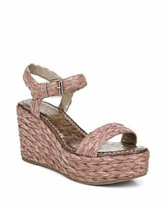 Sam Edelman Women's Deena Raffia Wedge Heel Platform Sandals